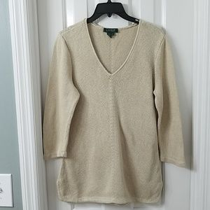 Ralph Lauren Sweater 3/4 Sleeve Tan